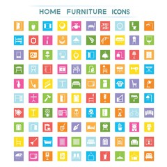 furniture icons, flat icons