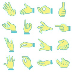 hand set, cartoon style in blue theme