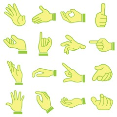 hand set, cartoon style, green theme
