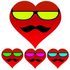 фон сердце очки усы
