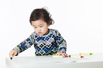 Little boy enjoy drawing