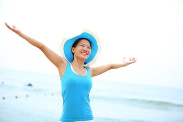 happy vacation woman at beach