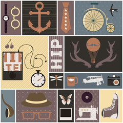 Hipster thematic elements. Retro styled objects