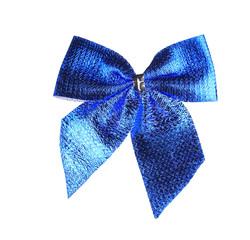 Blue bow made of ribbon.