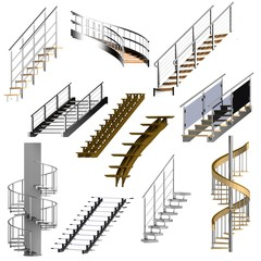 realistic 3d render of stairs set