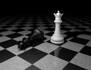 chess pieces on marble floor, dark background