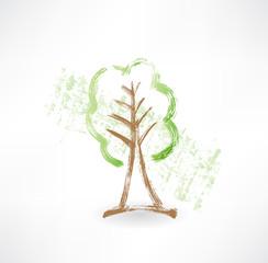 Green tree grunge icon