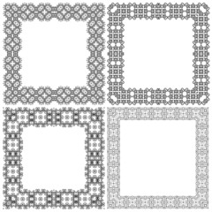 Set abstract vintage frames. Vector illustration.