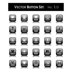 VECTOR BUTTON SET 1 (black square website internet web icons)