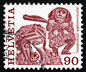 Postage stamp Switzerland 1977 Masked Man, Lotschental