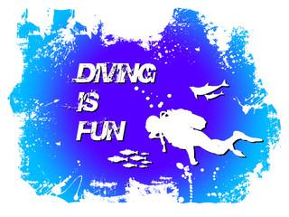 Diving is fun illustration colorée et entrainante