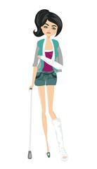 sad girl with a broken arm and leg