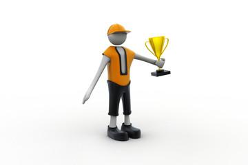 3D Man with Golden Trophy