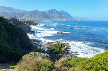 Photo on textile frame South Africa Beautiful ocean and coast landscape in Hermanus, South Africa
