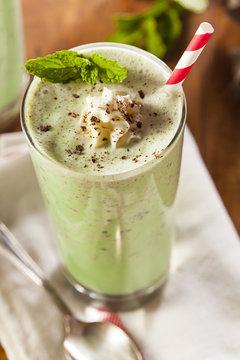 Cold Refreshing Mint Chocolate Chip MilkShake