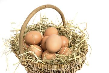 Ostern, Eier im Korb, Nest