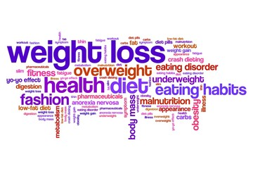 Overweight, weight loss - word cloud illustration