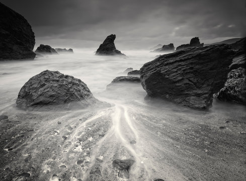 Beach in black and white