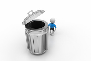 3d small person standing next to a trash can