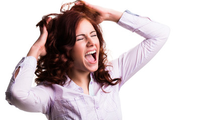 wütende junge Frau