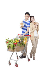.Young Couple Grocery Shopping.
