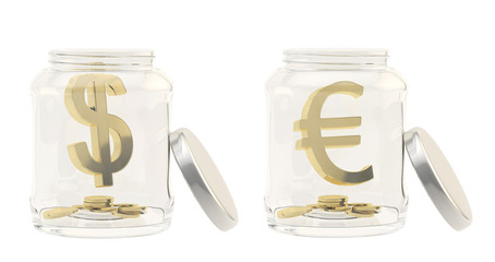Currency sign in a glass jar