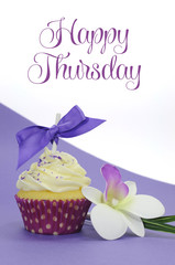 Happy Thursday purple theme cupcake with sample text greeting.