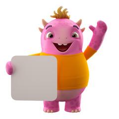 3D character, cheerful cartoon lizard or dinosaurus