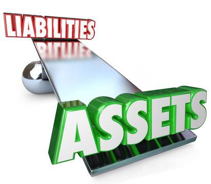 Assets Vs Liabilities Balance Scale Net Worth Money Wealth Value