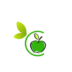 Logo with a green apple in alphabet C