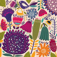 Fototapete - Floral spring pattern