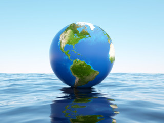 3d globe on the water. Elements of this image furnished by NASA.