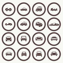 Cars icons set different vector car forms.