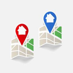 realistic design element: map, pointer, navigator