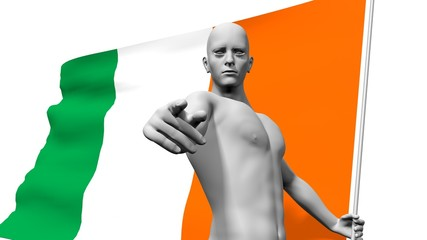 man with ireland national banner