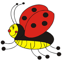 ladybug insect vector drawing