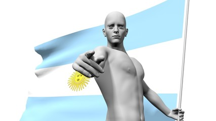 man holding argentina flag