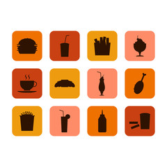 Fast food icon, set of food and drinks