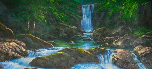 Bach Wasserfall Gemälde Ölgemälde Kunstdruck artprint