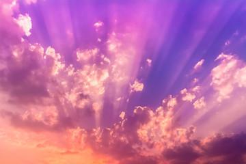 sunset light beam cloud
