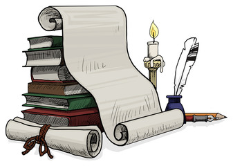 Inkwell with a feather and a papers,books and candle