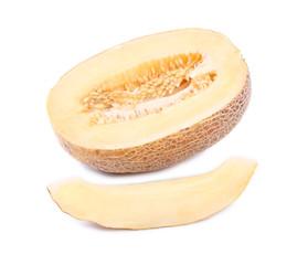 Ripe melon and slice close up.