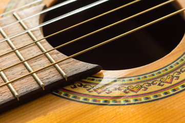 Part of an old acoustic guitar close up