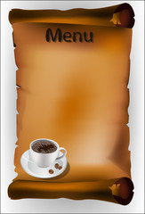 Coffee menu on the parchment
