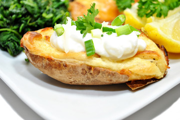 Twice Baked Potato with Fresh Sour Cream and Chives