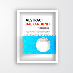 Vector 3D frame. Design for image or text. hole and circle