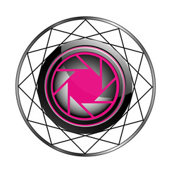 Stylized photography logo in pink and black
