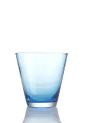 blue glass on white background