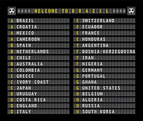 soccer concept Brazil, style of airport flight information,