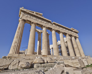 extreme perspective of Parthenon  temple, Athens, Greece